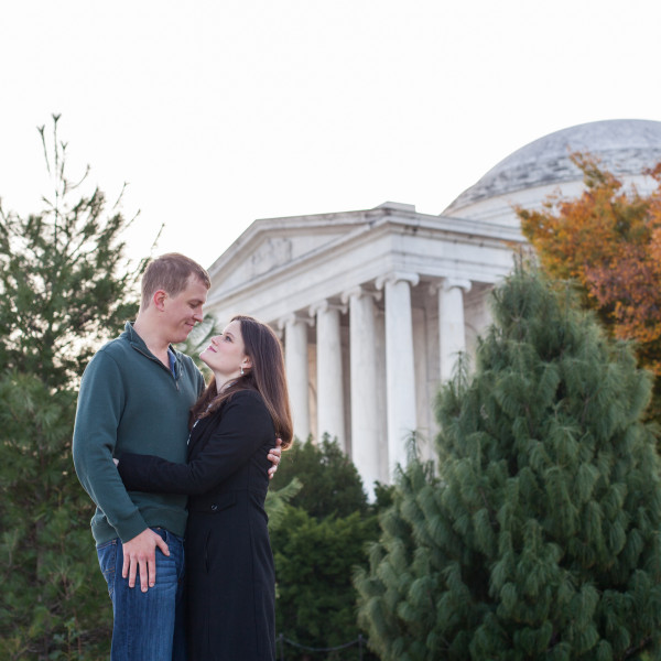 Connie and Andrew's Engagement Session: Jefferson Memorial