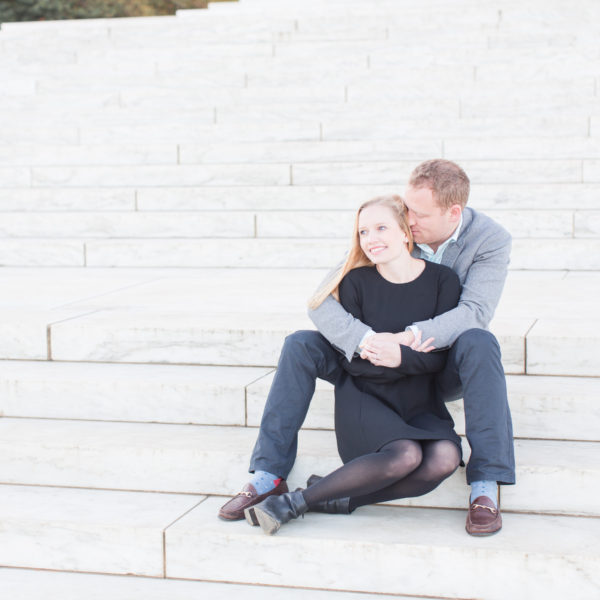 Amanda and Robert | Sunrise Jefferson Memorial Engagement Session | Washington D.C. Wedding Photographer